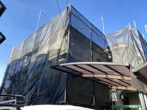 調布染地で日本ペイントダイヤモンド 町田市三輪で外壁塗装始まりました。