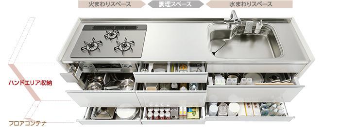 静かに閉まるサイレントレールで快適なキッチン空間を実現しました。