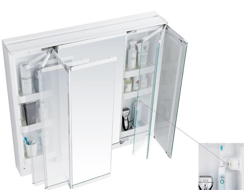左右どちらからでも開閉できて、手元にも引き出せる便利な両開きの鏡扉。鏡裏はすべて収納スペースで、小物からストック品までたっぷり入ります。