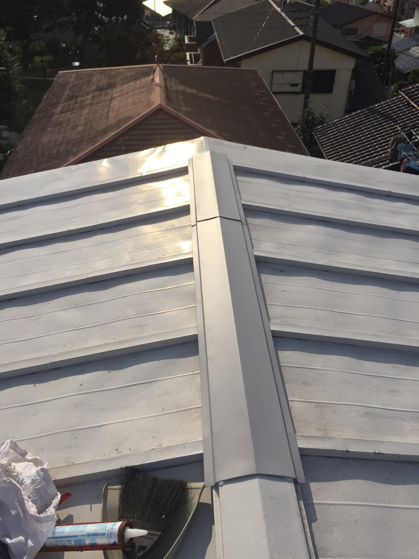 屋根棟押えトタン飛びました